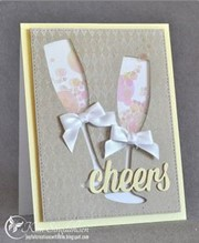 CONGRATULATIONS,  CHAMPAGNE FLUTES (SILVER FOIL  EMBOSSED) - D2 (NOTECARD PACK CONTAINING SIX CARDS OF THE SAME DESIGN)