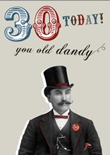 30 TODAY! YOU OLD DANDY - D2 (NOTECARD PACK CONTAINING SIX CARDS OF THE SAME DESIGN)