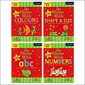 AT HOME WITH ABC/COLOURS/NUMBERS & SHAPE & SIZE (FOUR PACK)