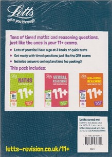 LETTS   PACK OF 3   11+ QUICK PRACTICE TESTS